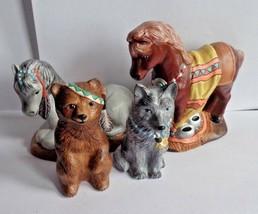 Lot of 4 Spirit Animal Themed Hand Painted Molded Ceramic Figurines EC G... - $13.00
