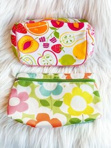 Clinique Lot Of Two: Floral & Fruit Medium Makeup Cosmetic Bags Pouch New! - $12.59