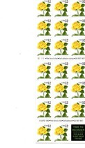 1996, Full Sheet, USPS Stamps, Yellow Rose, NEVER USED, Beautiful Condition - $8.00