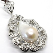 Silver Pendant 925, Pearl Baroque with Frame, Flower, Made in Italy image 2
