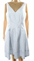 2603-2 LRL Ralph Lauren Womens Blue Printed Pleated V-Neck Sheath Dress 4, $184 - $29.39