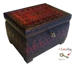 Polish Handmade Burned Chest w/Lock & Key Wooden Jewelry Heart Love Keep... - €35,68 EUR