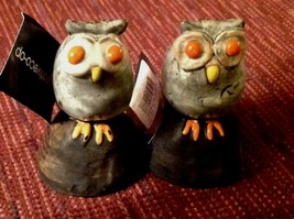 "Creative Co-Op Gray Owl Figurine Set of 2 Clay Pottery Orange Eyes 3.5"" New - $16.78"
