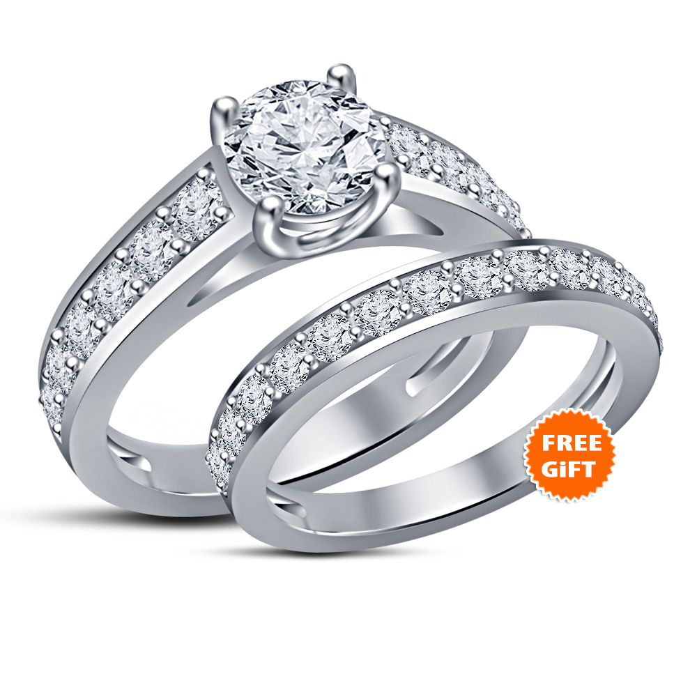 His & Her Wedding Ring Set 14k Black Gold FN Princess Blue Sapphire & Free Gift