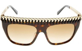 NEW AUTH STELLA McCARTNEY HAVANA GOLD CHAIN LEATHER SUNGLASSES SC0010S -... - $168.29