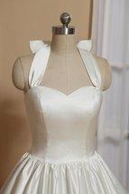 1905's Vintage White Halter Satin Tea Length Wedding Dress With Bow image 2