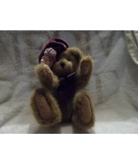 "Boyds bear 10"" brown bear with purple velvet hat and matching bow - $8.50"