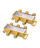 Cable Matters 2-Pack Gold Plated 2.4 Ghz 4 Way Coaxial Cable Splitter (C... - $3.96