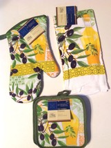 Kitchen Linen Set New 4 Pc Olive Oil Oven Mitt Towel Pot Holders Green Y... - $13.84