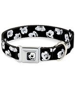 Dog Collar Seatbelt Buckle Mickey Mouse Expressions Scattered Black/White - $12.95