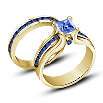 Bridal Wedding Ring Set Princess Cut Blue Sapphire Yellow Gold Plated 925 Silver - $91.99