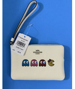 COACH Leather NWT Corner Zip Wristlet Wallet Ms.Pac-Man Animation Chalk ... - $84.15