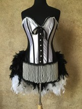 Size L or XL-Beaded Faux Pearl French Maid Caberet Burlesque Vegas Feath... - $149.99