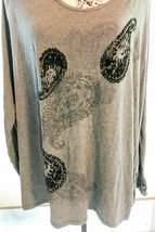 Women's JMS Just My Size Blouse Top Shirt Pullover 4X Gray Black SKU 027-87 - $17.30