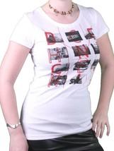 Bench UK da Donna Bianco Crimine Scena Foto T-Shirt BLGA2374 Nwt