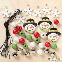 Wooden Beaded Snowman Necklace Craft Kit (makes 12)  - $11.61