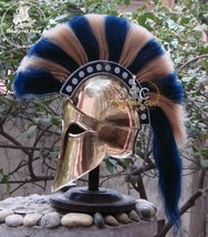 Medieval Greek Corinthian Armour Helmet Blue & White Plume Knight Spartan+STAND - $125.00