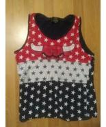 VTG NBA Chicago Bulls Red White Blue Stars Patriotic tank top jersey SZ ... - $17.81