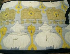 "Pottery Barn Riva Ikat Standard  Pillow Sham Blue Yellow 26x20"" Navy Trim New - $29.68"