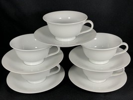 5 Sets of PB WHITE by Pottery Barn Coffee Cups and Saucers - $49.49