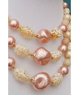 Vintage art glass & plastic triple strand choker necklace Japan pink yel... - $27.71