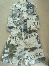 Ladies Top + Shorts Size L Caribbean Map Design Cropped Shirt + Shorts S... - $12.86