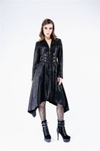 "Vegan Leather Long Goth Jacket ""Cracked"" Faux Leather Pleather Coat Spri... - $82.82"