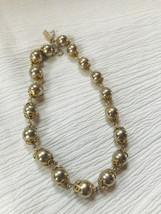 Vintage Reinad Signed Silvertone Round with Goldtone End Caps Bead Choker Neckla - $18.55