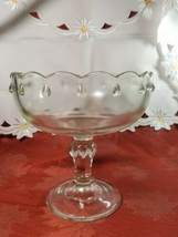 Vintage Indiana Glass Clear Teardrop Footed Compote Fruit Bowl