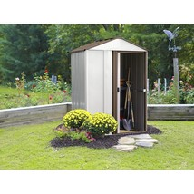 Steel Storage Shed Eggshell Coffee 5 x 4 x 6 5 Lockable Door Outdoor Gar... - $226.32