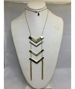 Vintage Express Gold Tone Chevron Necklace With Tassles (1912) - $15.00