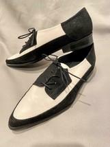 Stuart Weitzman Tuxedo Point Toe Shoes Lace Up Black White 6 - $68.55