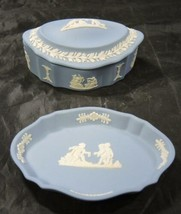 Two Vintage Blue Wedgwood Jasperware Pieces * Pin Tray * Trinket Box - $9.31