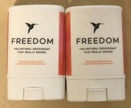 2 FREEDOM  All-Natural, Aluminum Free Deodorants Frankincense Peach (2) ... - $8.86