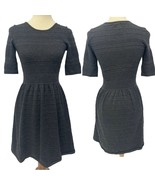 Vince Camuto Gray 3/4 Sleeve Pleated Neck Cuffs Sweater Dress Size Small - $24.75
