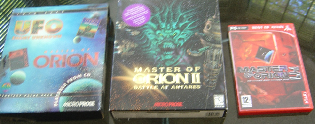 MASTER OF ORION 1+2+3 + UFO ENEMY UNKNOWN RARE BIG BOX