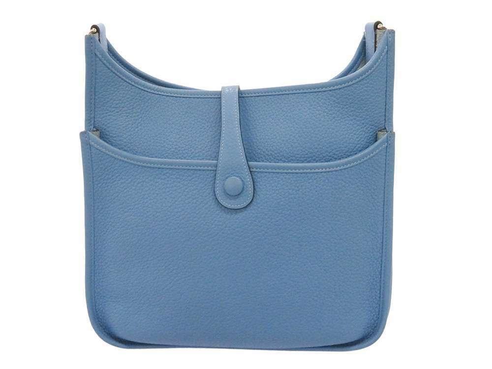 HERMES Evelyne 3 PM Taurillon Clemence Bleu Paradis Shoulder Bag #R Authentic image 3