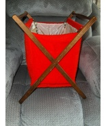 Vintage Red Folding Wood Frame Basket Caddy Tote Sewing Knitting Yarn St... - $42.99