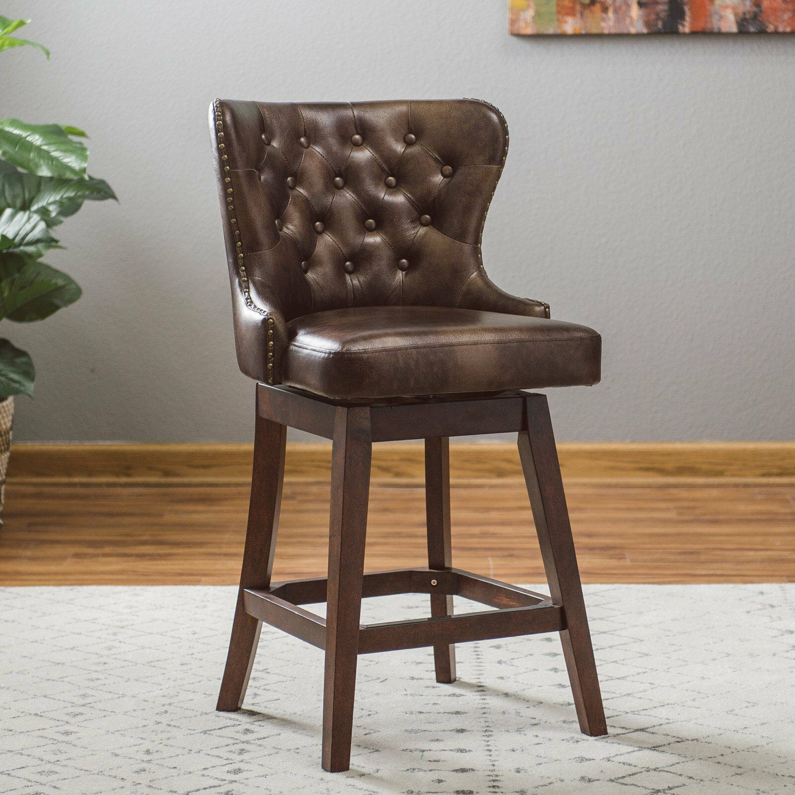 Traditional Wingback Tufted Brown Leather 26 Quot Seat Swivel