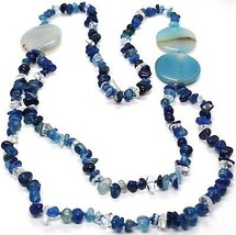 Long Necklace 90 cm, Agate Blue Banded Disco Big, Double Thread image 2