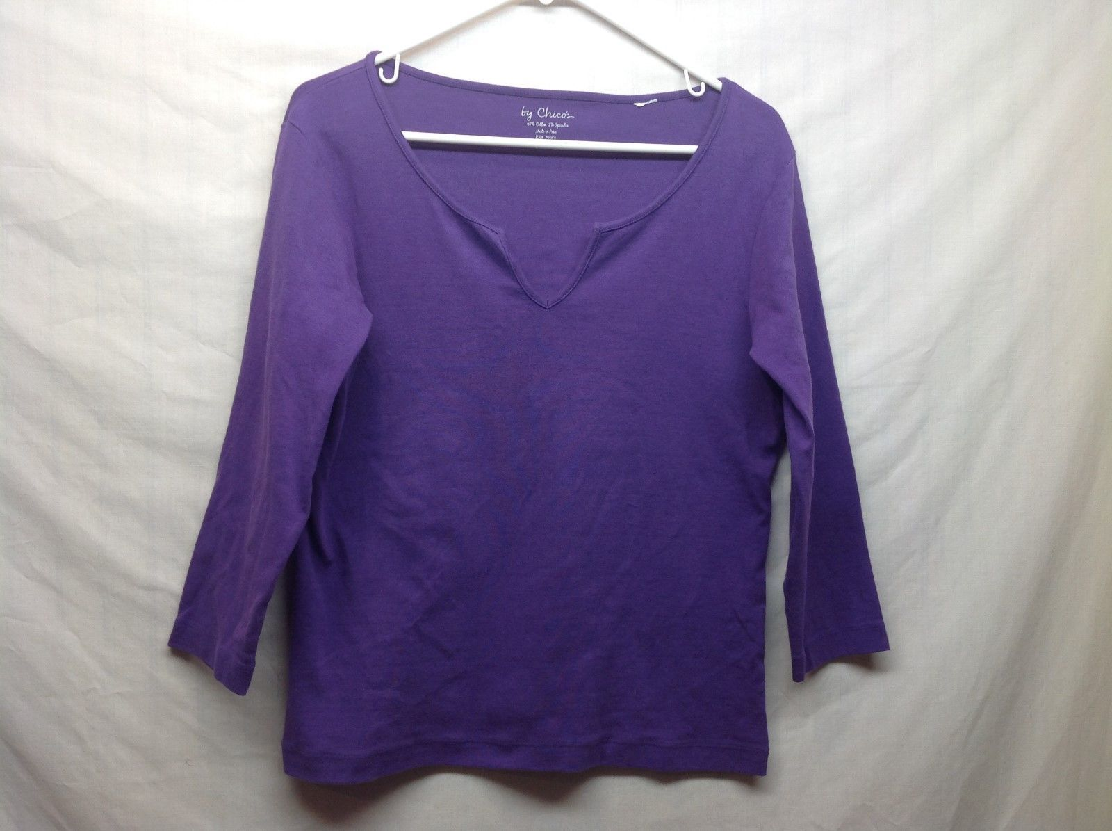 CHICOS Purple Pullover Med Weight Sweater Shirt Sz 1