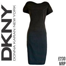 DKNY Dress Grey Shift Charcoal Donna Karan New York Midi Mid Size Small - $39.35