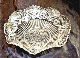 Cut Glass Serving Bowl with Design AA18-11809   Vintage Heavy