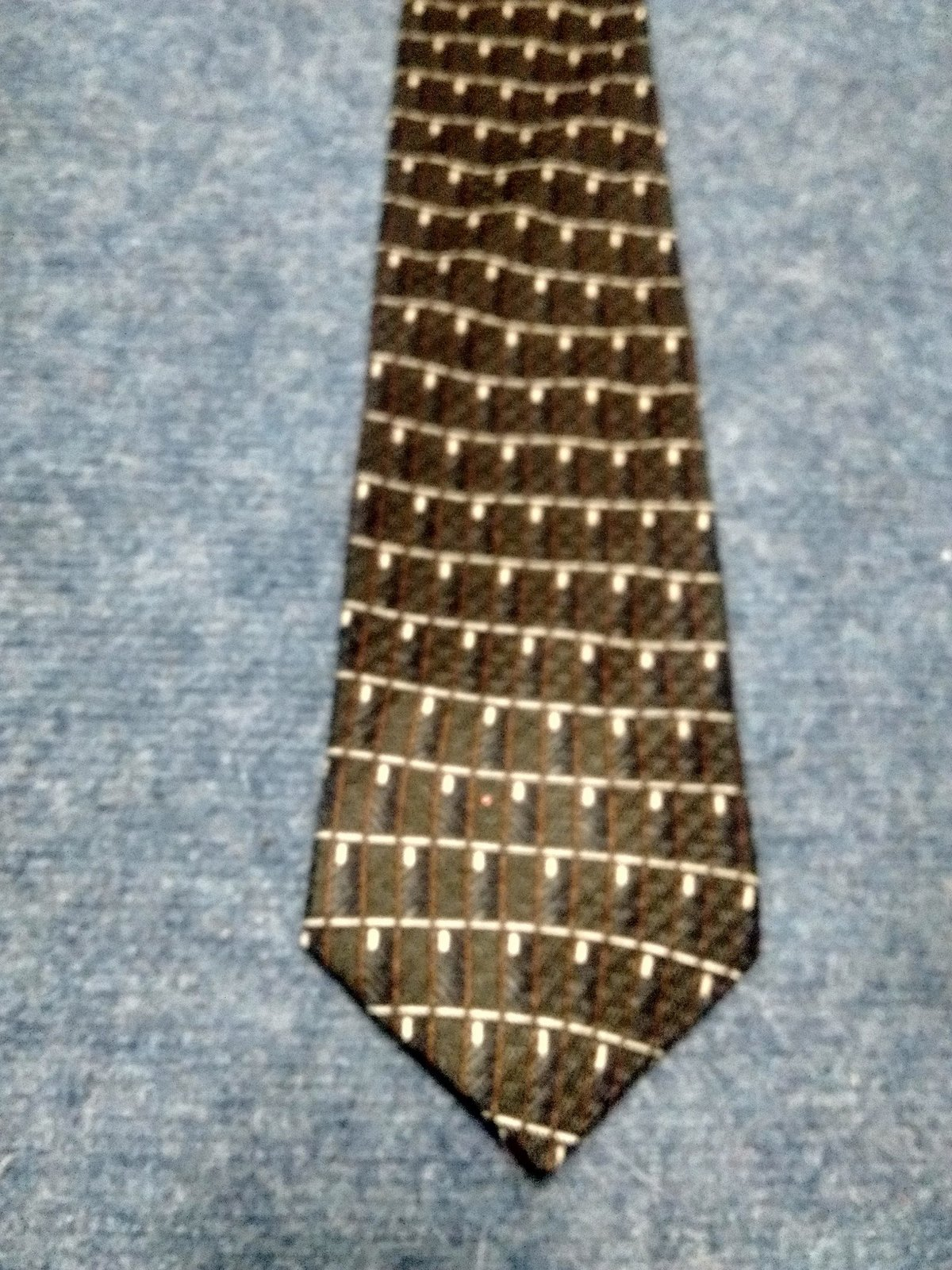 Kenneth Cole Tie Olive Green beige brown men ties
