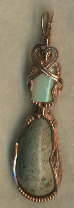 Australian Opal Copper Wire Wrap Pendant 36