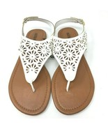 Olivia Miller White Sandals Laser Cut Thong Flat Ankle Wrap Size 7 NWT - $17.32