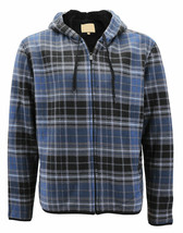Men's Zip Up Sherpa Lined Plaid Hoodie Lightweight Grey Jacket w/ Defect - XL image 1
