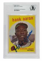 Hank Aaron Signed 1959 Topps #380 Milwaukee Braves Baseball Card BGS - $872.99