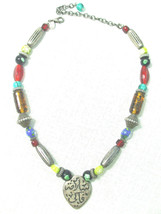 Chico's Vintage Tribal Silver Plate Beaded Necklace w Inscription Metal Pendant  - $19.75