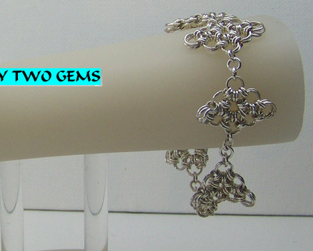 Jewelry By Two Gems (B24) S.S. Plated  Japanese Diamond Chainmaille Bracelet